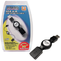 Cable, Retractable, USB A-A, M-F, Extension, 2.5', Zip-Linq